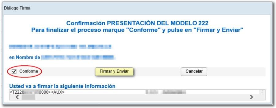 confirmar presentación, Modelo 222
