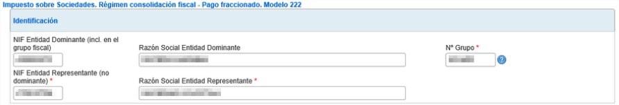 datos de identificación del modelo 222