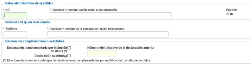 Datos relacionados con la entidad a declarar en el Modelo 184