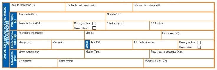 Datos del transporte en el Modelo 620