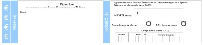 Firma e ingreso del Modelo 790 código 026