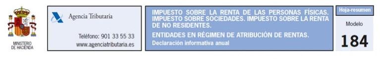 Modelo 184. Entidades en régimen de atribución de rentas.