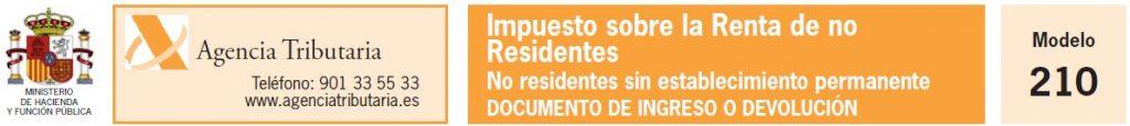 Modelo 210. Impuesto sobre la Renta de no Residentes sin establecimiento permanente
