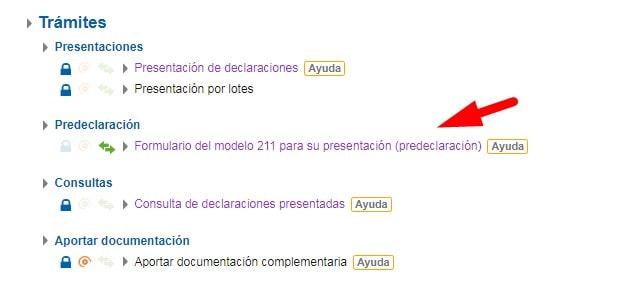 Tramites para la presentación en papel del Modelo 211