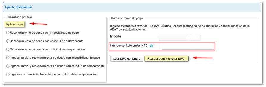 Obtener NRC para cumplimentar el Modelo 211