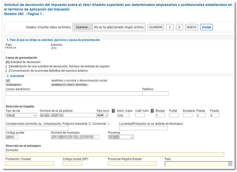 Formulario del Modelo 360 en línea