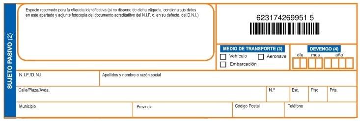 Datos del comprador del el vehículo en el Modelo 620