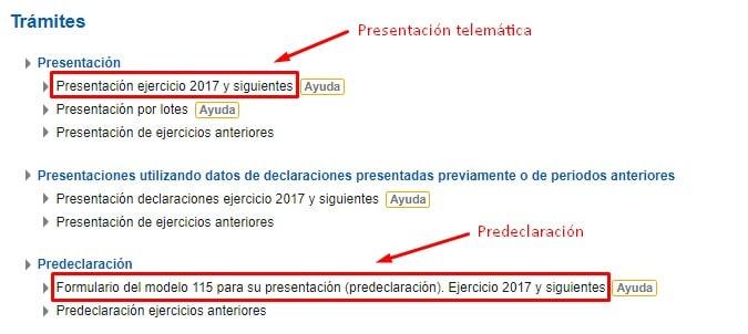 Presentación telemática del Modelo 115