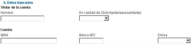 Datos del titular de la cuenta bancaria del Modelo 360