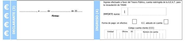 Firma del declarante en el Modelo 790 código 006