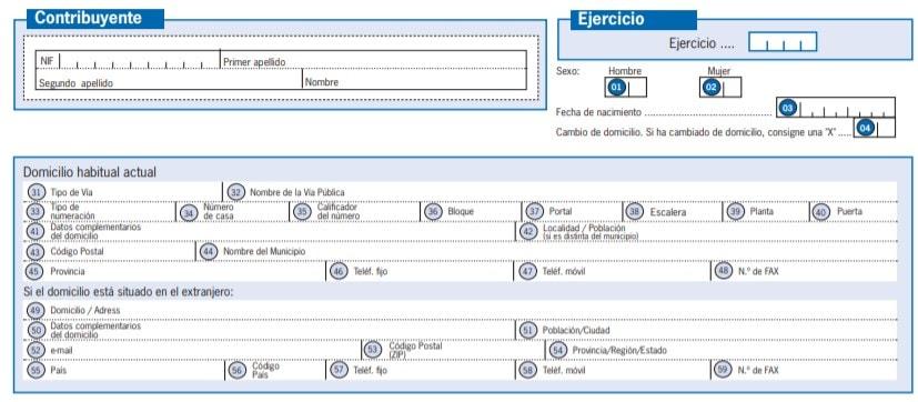 Datos del contribuyente del modelo 151