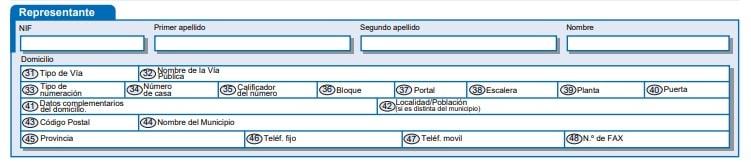 Datos del representante en la AEAT