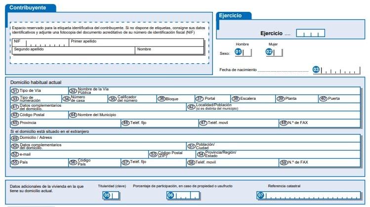 Datos personales del contribuyente al modelo 150