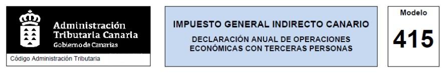 Modelo 415. Declaración anual de operaciones con terceras personas